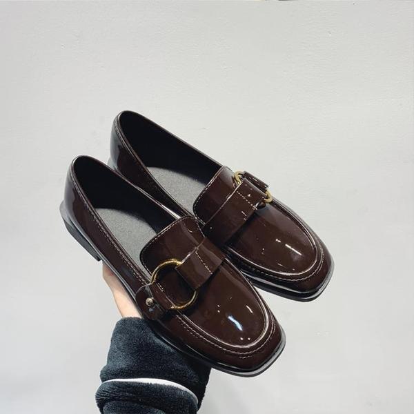 小皮鞋一腳蹬單鞋平底潮
