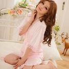 【Sexy cat】魅惑情人 蕾絲花邊睡袍二件式睡衣 甜美粉