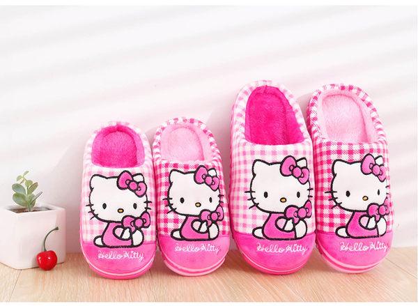 Hello Kitty兒童棉拖鞋包跟女童冬保暖拖鞋室內居家鞋防滑親子款