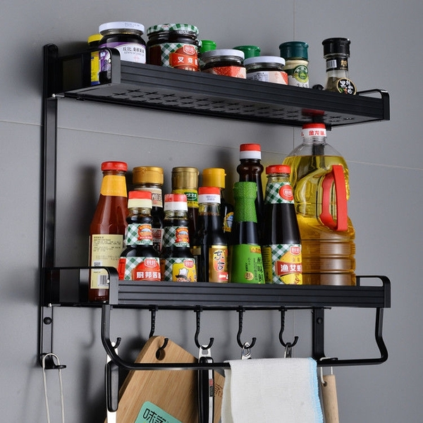 廚房置物架 廚房置物架免打孔收納架壁掛調料架調味品牆上整理架家用廚具掛件