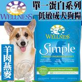 【zoo寵物商城】Wellness寵物健康》Simple單一蛋白成犬羊肉燕麥食譜狗糧-4磅/包