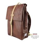 咖啡中性皮革後背包 (設置平板 3C 插袋)   AMINAH~【am-0234】
