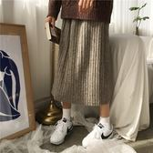 1212年終盛典 大sim小sim氣質風純色百褶裙女2018韓國高腰半身裙顯瘦中長裙