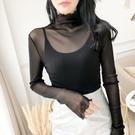 透視上衣 黑色蕾絲打底衫女洋氣高領薄款透視紗衣防曬長袖內搭網紗上衣外穿-Ballet朵朵