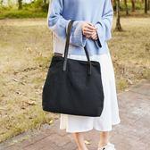 包包女2019新款韓版簡約文藝學生單肩包女包托特包帆布包布袋大包 森活雜貨