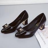 媽媽鞋大?2019新款高跟單鞋中跟粗跟單鞋圓頭淺口職業皮鞋女舒適Ol女鞋 JA5148『麗人雅苑』