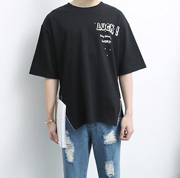 FINDSENSE品牌 夏季新款 男士 後背拉鏈 字母印花 寬鬆 短袖T恤 特色