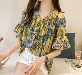 韓國韓系中大尺碼襯衫上衣M-4XL/甜美喇叭袖打底上衣新款印花露肩雪紡衫女N107A-8127