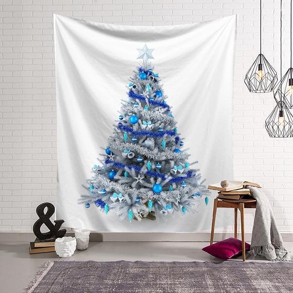 【半島良品】聖誕款_雪白聖誕樹(沙灘巾 背景布 ins拍攝布景 掛畫 掛布)