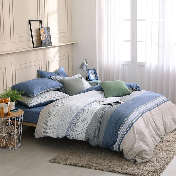 鴻宇 雙人鋪棉兩用被套 100%精梳純棉 特調藍 台灣製C20107