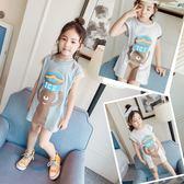 *╮S13小衣衫童裝╭*女童卡通熊熊螺紋短袖長板T裙1080305