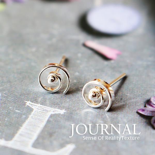 925純銀 極簡迴旋螺紋 針式耳環