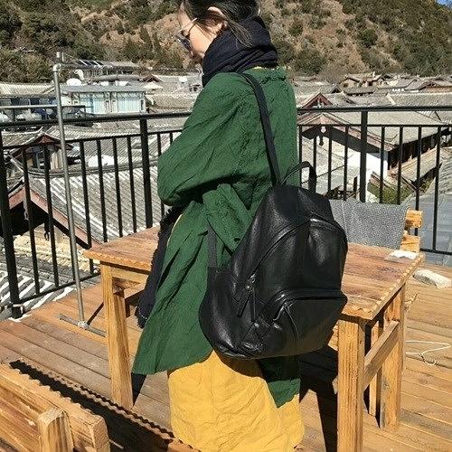 真皮後背包-大容量黑色輕便休閒男女雙肩包73ym45[巴黎精品]