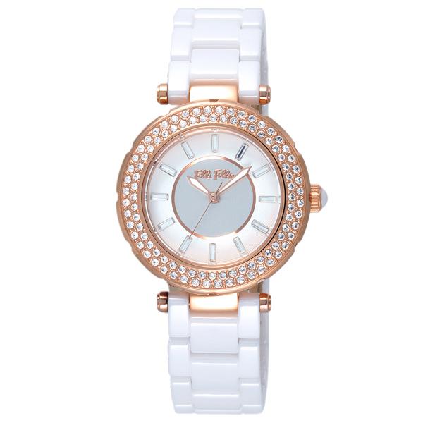 Folli Follie 舞動華爾茲時尚晶鑽腕錶-玫瑰金框白x陶瓷錶帶x小