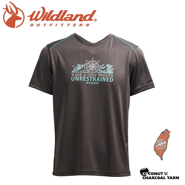 【Wildland 荒野 男 椰碳紗圓領印花抗菌上衣《深灰》】0A71658/圓領T/運動衣/t恤/抗UV/彈性/吸濕排汗