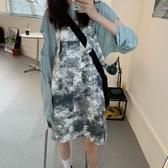 夏季新款韓版寬鬆顯瘦扎染復古網紅洋氣減齡工裝背帶連衣裙女