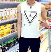 男士正韓修身型背心男青年夏季純棉緊身印花汗背心運動無袖T恤 巴黎時尚生活