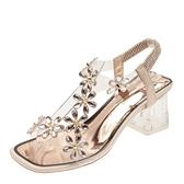 水鑚涼鞋2021年新款女夏季羅馬水晶粗跟氣質中跟仙女風透明高跟鞋 母親節禮物