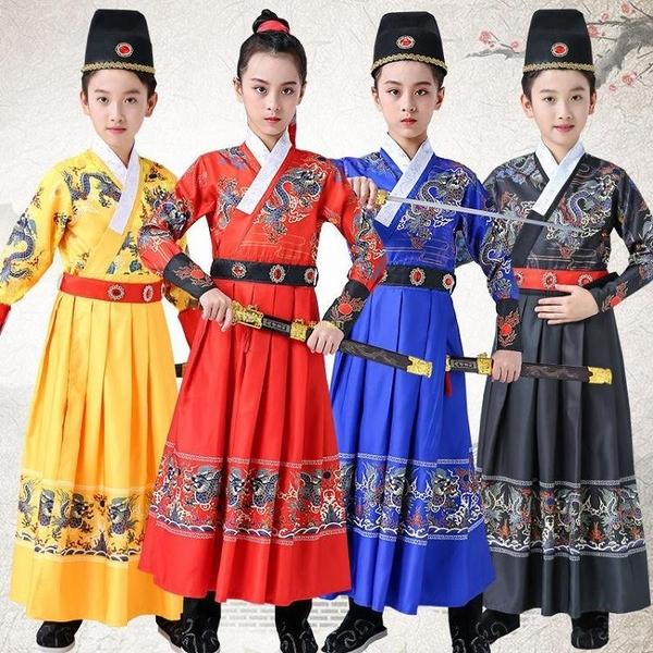 漢服女童12歲霸氣男孩網紅古裝長款中國風錦衣衛飛魚服小學生正版 快速出貨