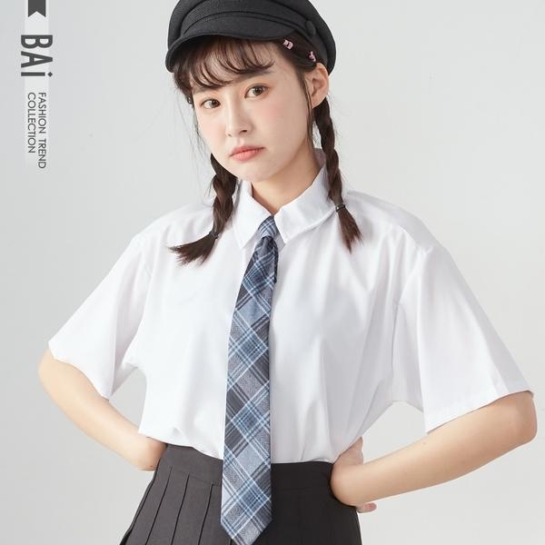 襯衫 學院風格紋配色領帶短袖上衣-BAi白媽媽【190678】