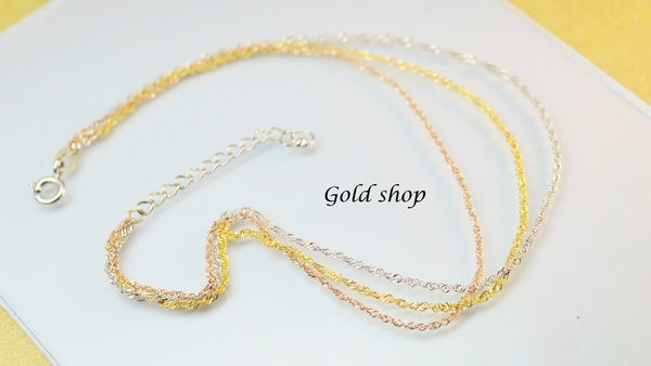╭☆ gold shop ☆╯ 義大利 585 三彩K金 腳鍊 [ kbg 006 ]-0.48