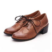 MICHELLE PARK 英倫時尚 經典復古雕花粗跟牛津鞋-棕色
