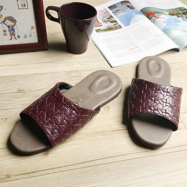 台灣製造-風格系列-編織紋皮質室內拖鞋-勃艮第紅