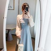 2020秋裝新款方領網紗拼接長袖洋裝女法式收腰顯瘦中長款仙女裙雙十一特價
