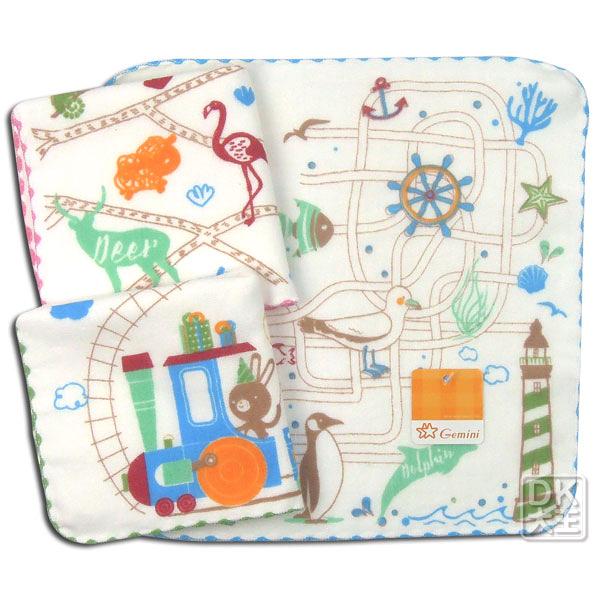 SG345K 雙星 動物世界紗布小方巾 手帕 ~DK襪子毛巾大王