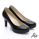 A.S.O 舒適通鞋 全牛皮窩心通勤跟鞋 黑軟皮