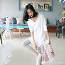 竹節棉T恤 年中長款短袖白色t恤女V領春夏打底衫寬松內搭竹節棉長袖上衣 檸檬衣舍