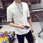 七分袖襯衫男韓版修身衣服男士中袖襯衣青少年7潮流5五分短袖寸衫