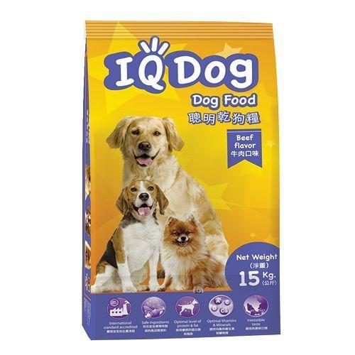 IQ Dog 聰明乾狗糧-牛肉口味成犬配方15KG【愛買】