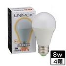 4件超值組UNIMAX LED燈泡-黃光(8W)【愛買】