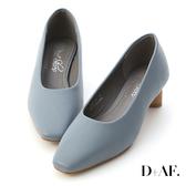D+AF 優雅氣息.素面小方頭橢圓跟鞋*藍