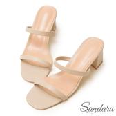 訂製鞋 韓版簡約細帶高跟涼拖鞋-艾莉莎ALISA【0983186】米色下單區