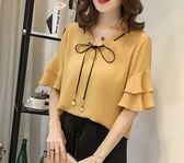 EASON SHOP(GU5908)大碼超仙氣質雙層喇叭袖荷葉邊圓領短袖T恤內搭衫女上衣服素色春夏裝韓版寬鬆