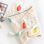 完封高麗菜嬰兒抱被 夏季薄款輕氧帶帽初生嬰兒抱被純棉包被包巾裹布新生兒用品