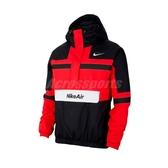Nike 長袖T恤 Air Woven Jacket 紅 黑 男款 連帽 防風 半開襟 運動休閒 【ACS】 CJ4835-657