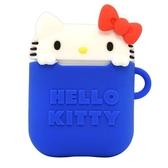 〔小禮堂〕Hello Kitty Airpods造型矽膠藍牙耳機盒保護套《藍白》Apple Airpods矽膠套 4536219-95982