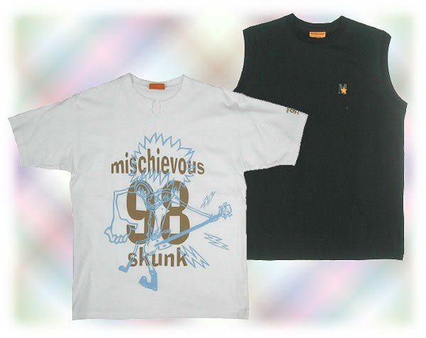 【波克貓哈日網】春夏短袖T恤◇日本品牌 mischievous◇《白色短袖T恤+黑色背心》
