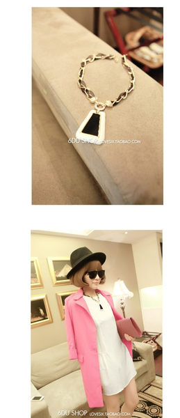 star 日韓系列 - 韓國時尚黑白色幾何項鏈-B30