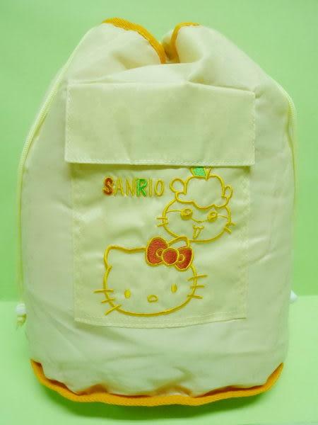 【震撼精品百貨】Hello Kitty 凱蒂貓 & CorocoroKuririn 可樂鈴天竺鼠~雙面束口手提袋後背包『橘米黃』