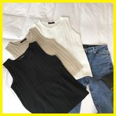 黑五好物節❤韓版新款針織背心外穿女修身無袖上衣顯瘦彈力百搭圓領打底衫t恤