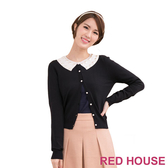RED HOUSE-蕾赫斯-撞色寶石領小外套(經典黑)