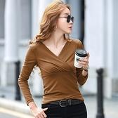 長袖T恤 打底衫S-2XL2110#主推2021春新款交叉高彈網紗長袖t恤女打底衫NE02韓衣裳