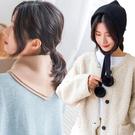兩用韓版毛球三角巾針織帽 裝飾針織圍脖毛...