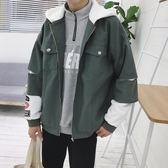 秋季外套男韓版拼色連帽上衣嘻哈外套男青年
