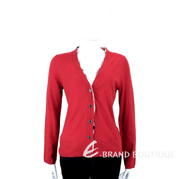 BURBERRY BRIT系列 紅色格紋羊毛開襟針織衫(100%WOOL) 1530069-54