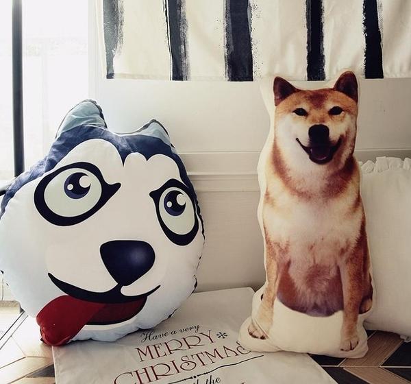 【2款】創意仿真狗狗抱枕 柴犬 哈士奇 娃娃靠墊 聖誕節交換禮物 生日禮物 玩偶 拍照道具擺設